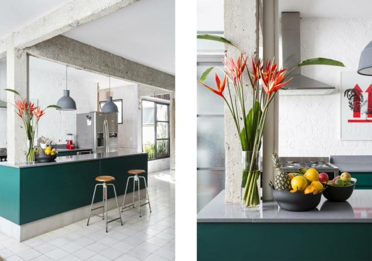 vistas isla cocina moderna verde