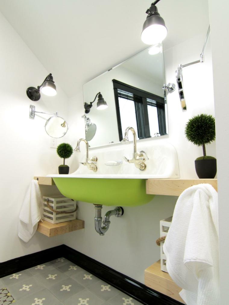 cuarto baño lavabo verde