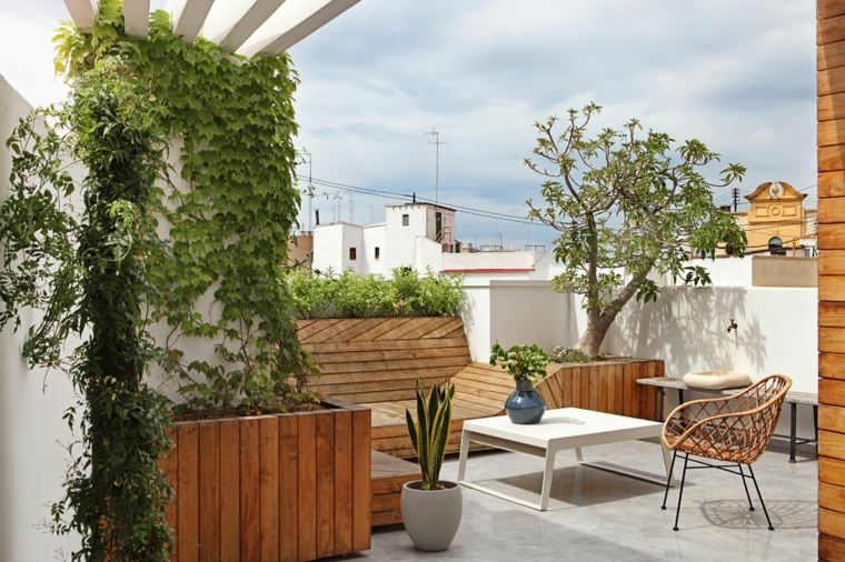 Josep Ruà diseno terraza moderna muebles madera ideas