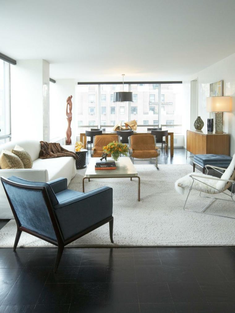 alfombra blanca salon moderno