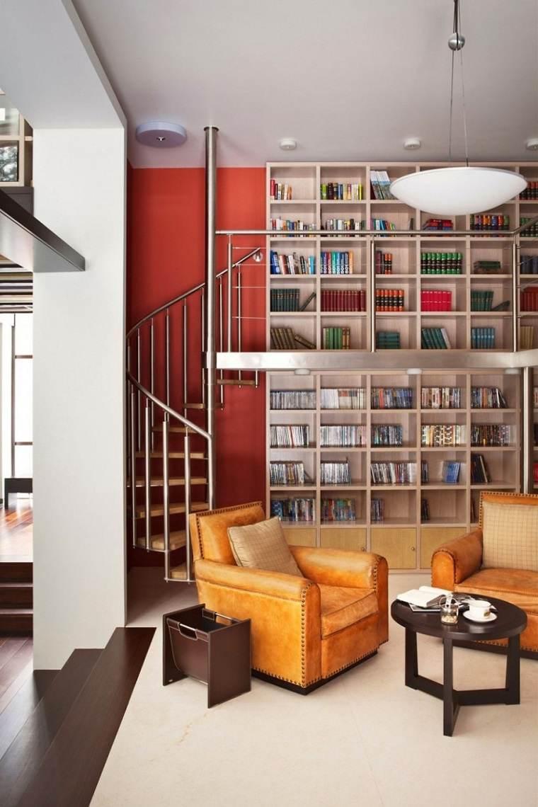 almacenamiento interior estantes suelo techo sillones ideas
