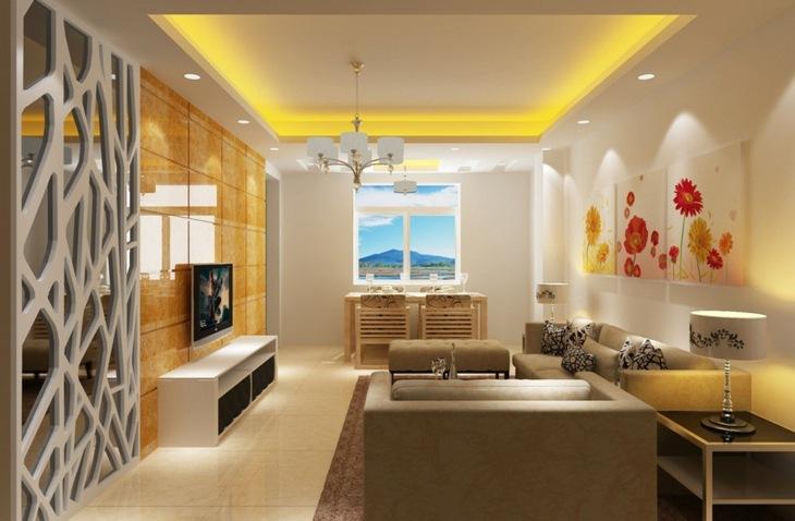 amarillo espacios muebles salones separadores