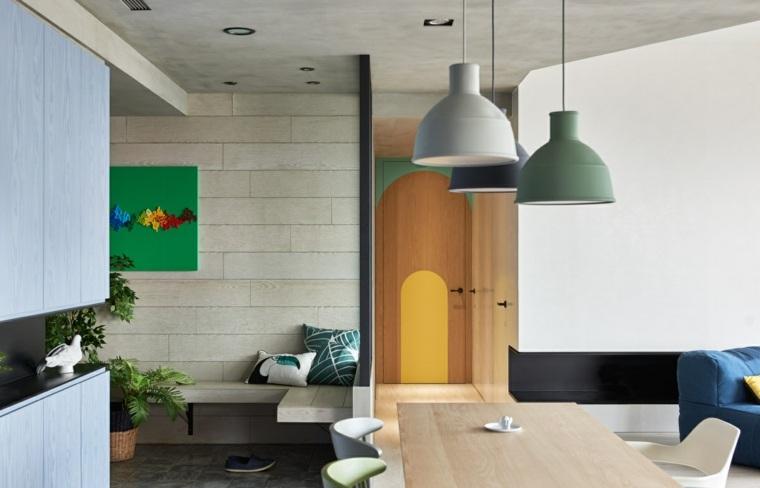 apartamento comedor lamparas colgantes