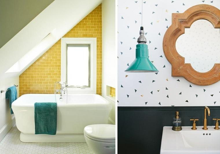 azulejos baño amarilos espejo madera