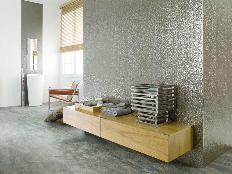 azulejos banos modernos metalicos plata ideas