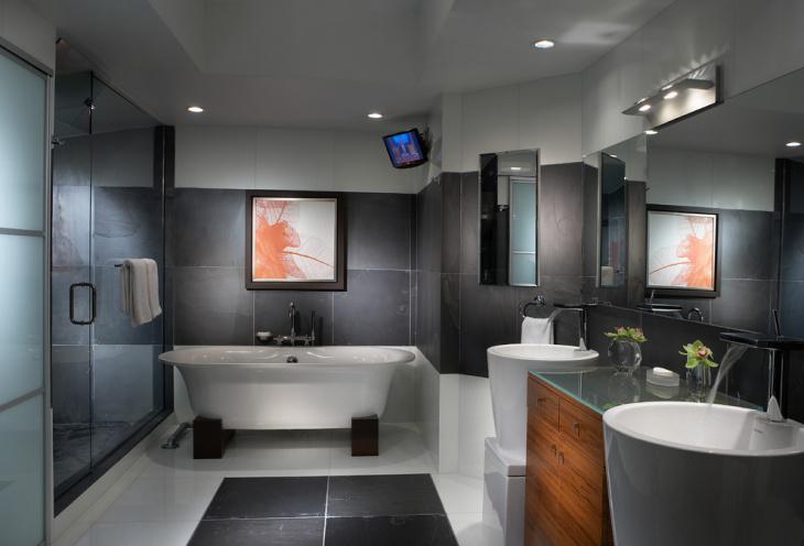Azulejos Baño Grandes:Baño con azulejos grandes de color gris