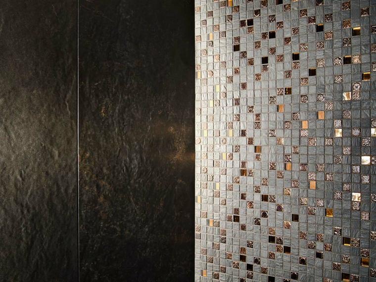 azulejos para banos modernos metalicos bronze ideas