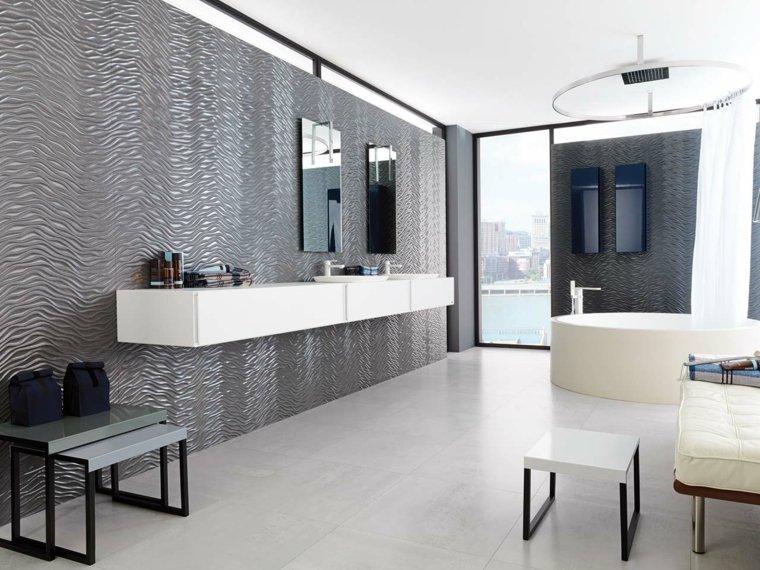 azulejos para banos modernos metalicos espacios amplios ideas