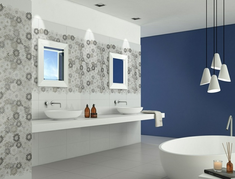 Azulejos para ba os con toques met licos - Azulejos mosaicos para banos ...