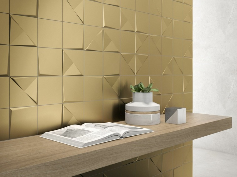 azulejos para banos modernos metalicos oro ideas