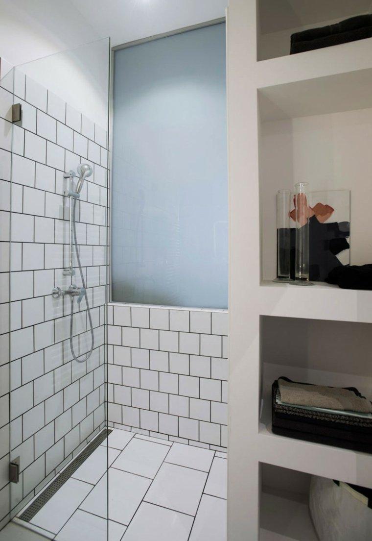 baños azulejos blancos conceptos cristal
