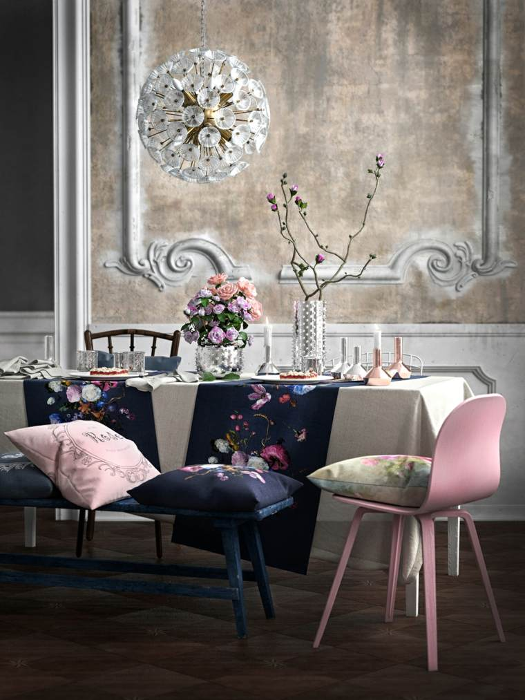 banco azul silla rosa mesa estilo vintage ideas