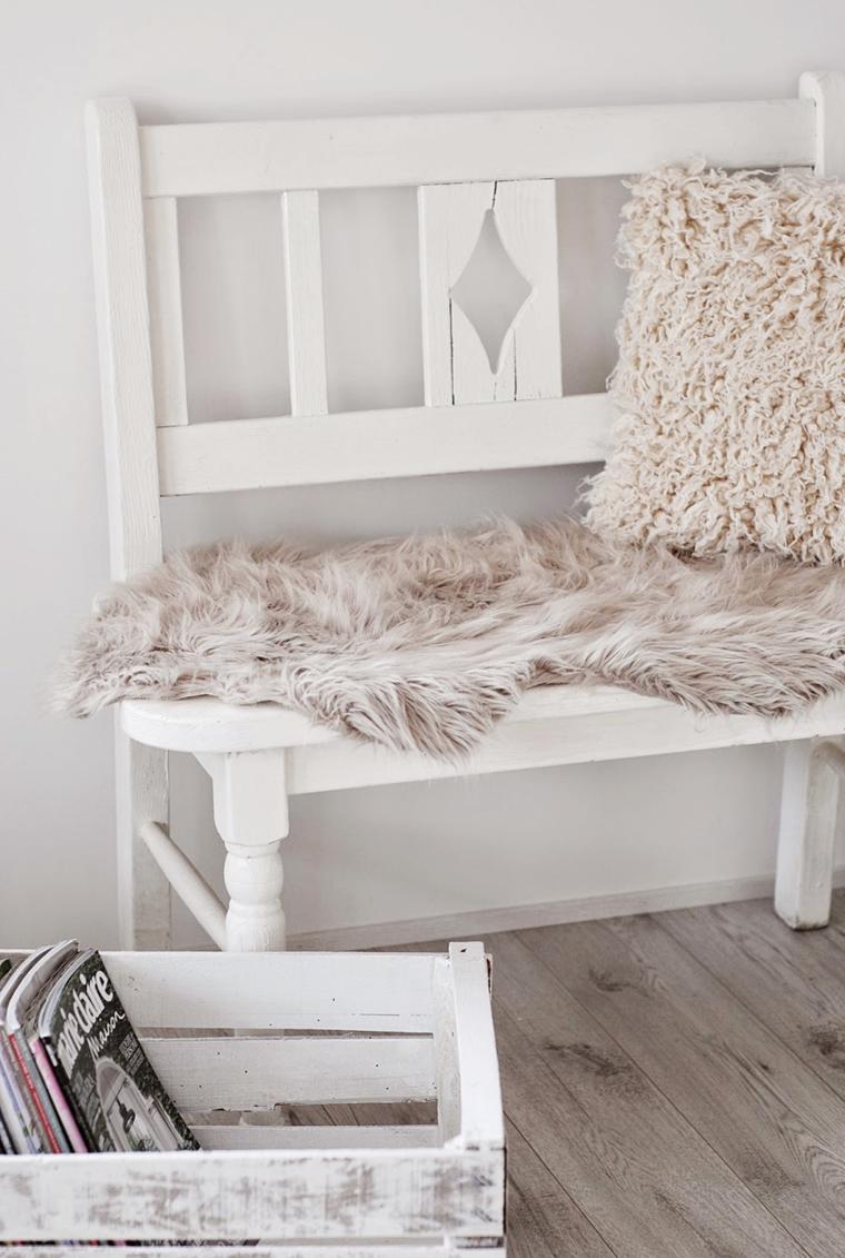 Salones en blanco descubra los 100 interiores m s modernos - Banco de madera blanco ...
