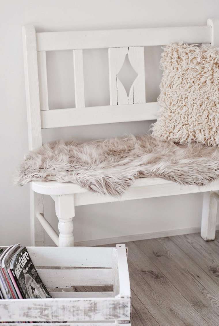 banco madera color blanco