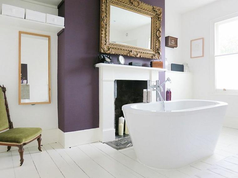 bañera independiente chimenea clásica