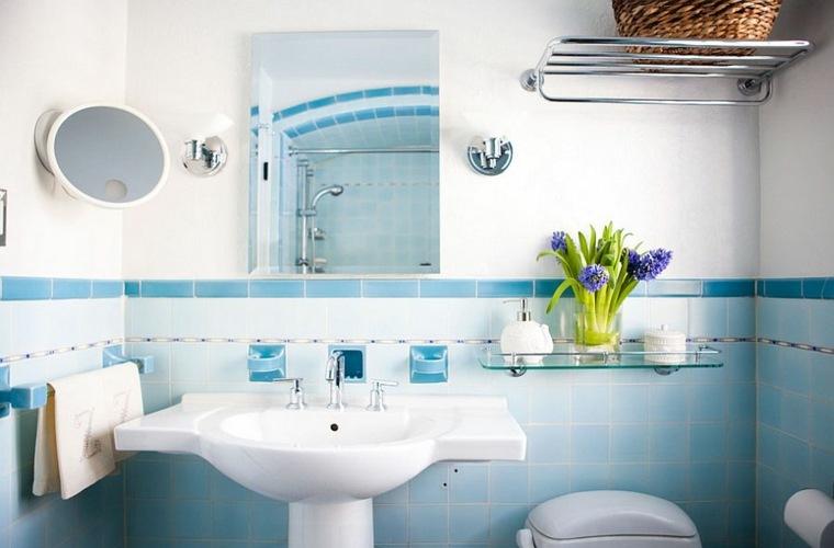 decoracion baño color celeste
