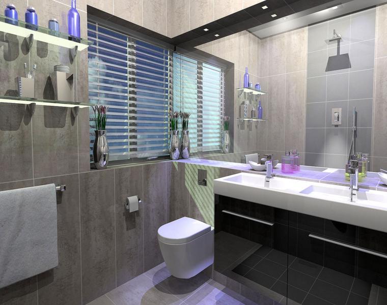 baño gris estilo moderno