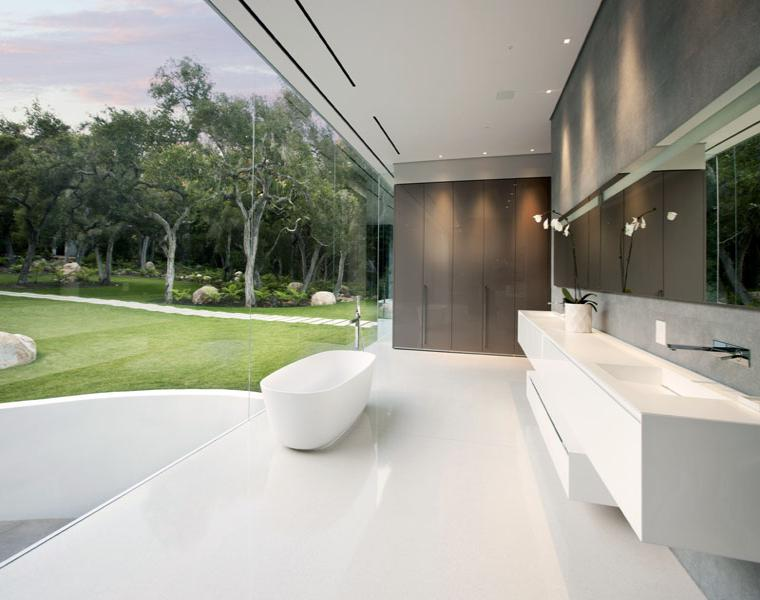 bano lujoso vistas jardin moderno