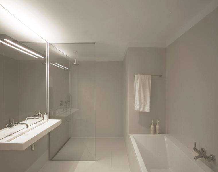 bano estilo minimalista color blanco