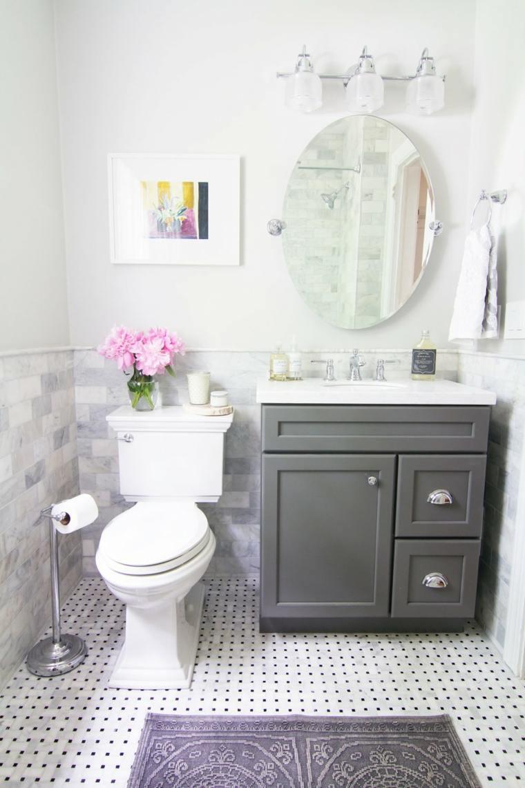 baño pequeño lavabo gris