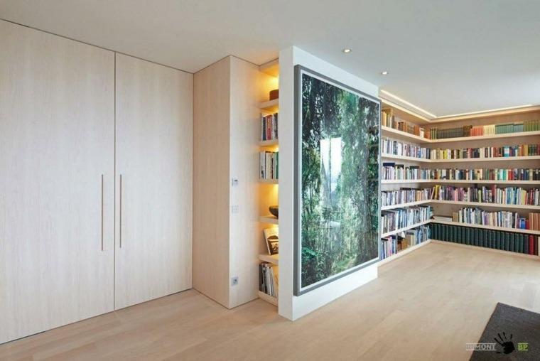 biblioteca moderna luces led estantes