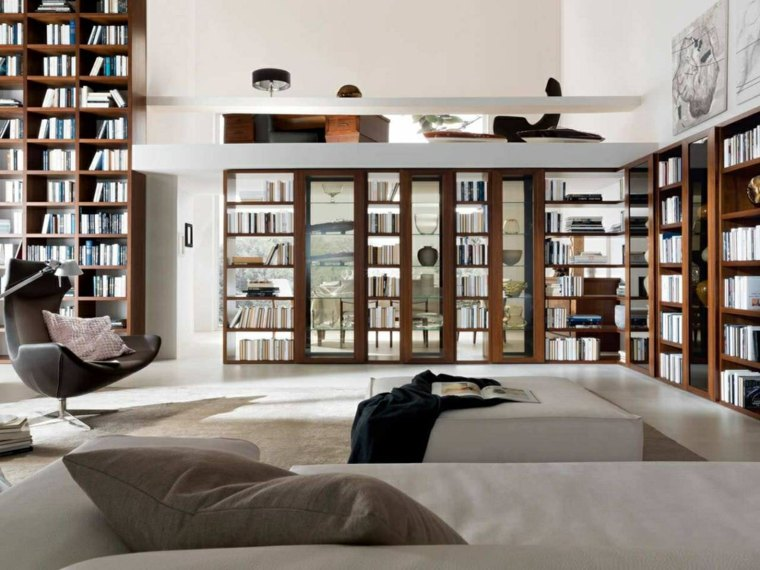 salón moderno biblioteca diseño