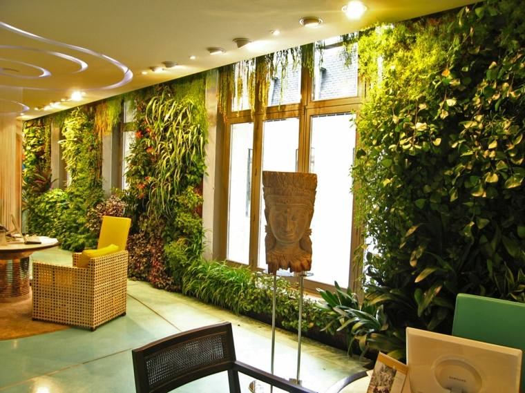 bonita pared salon plantas deco