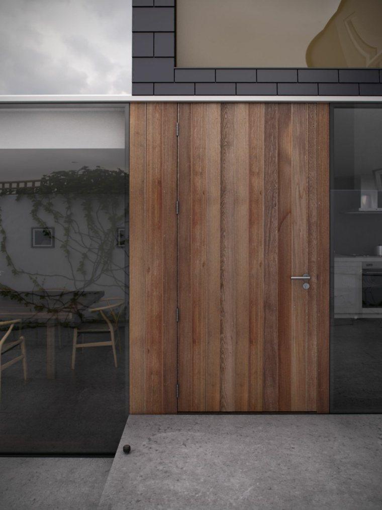 Puertas de entrada de dise o moderno 49 modelos for Puertas de madera blancas para exterior