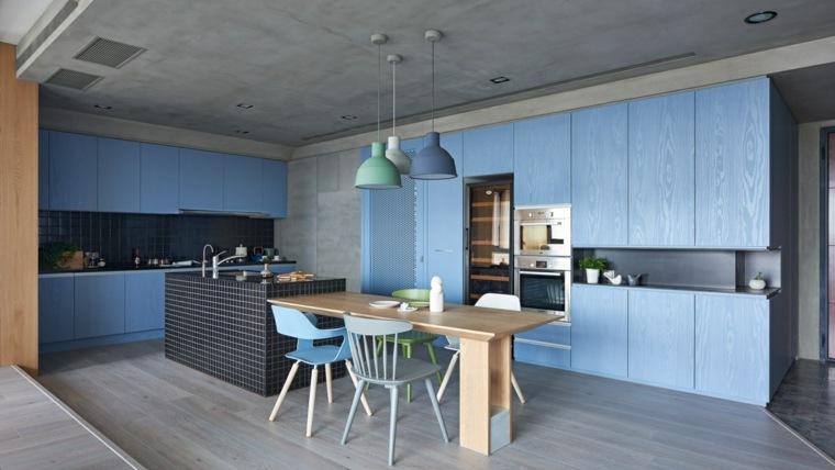 bonito diseno cocina color azul