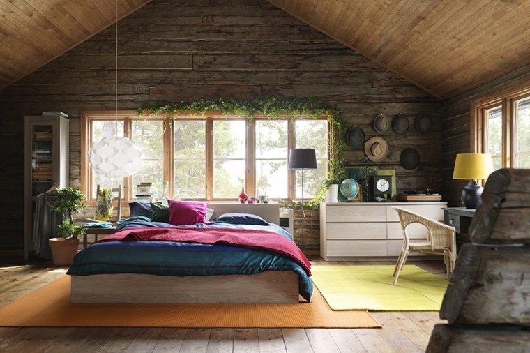 bonito interior madera habitacion rustica