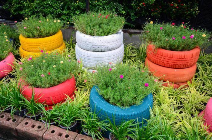 macetas plantadores ruedas viejas