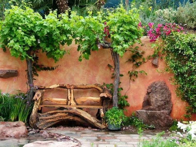bonito banco madera fuente piedra
