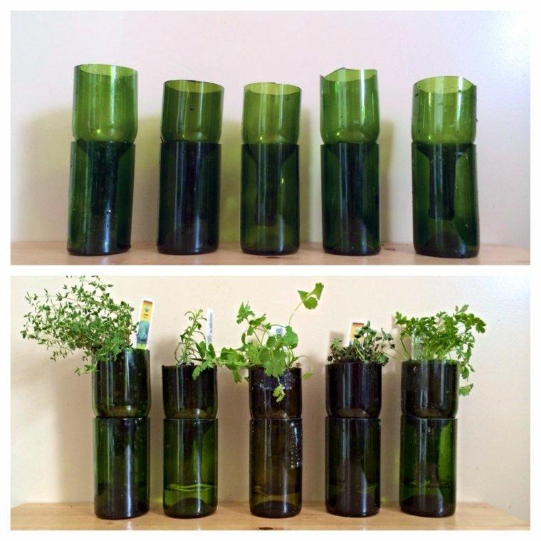 botellas vidrio recortadas plantas