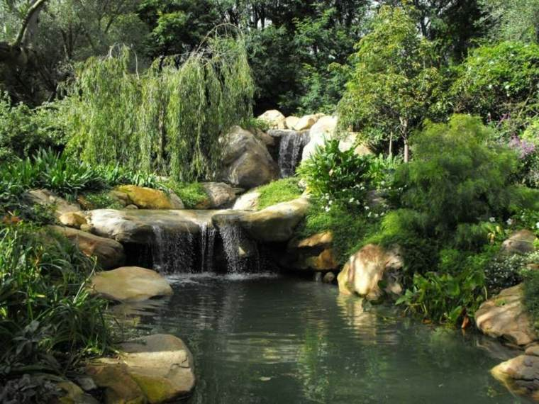 caidas dobles rocas esfectos plantas arbustos
