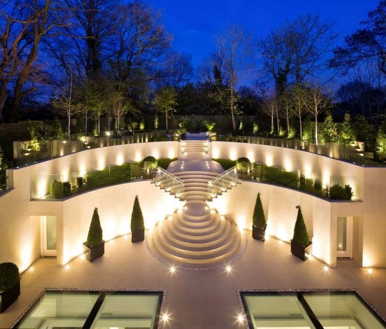 casa jardín diseno contemporaneo terrazas iluminacion ideas