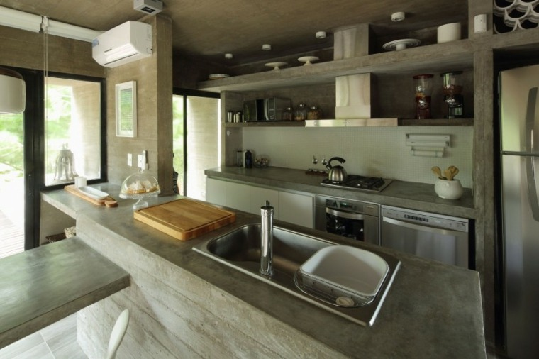 casa lujo residencia cocina isla hormigon ideas