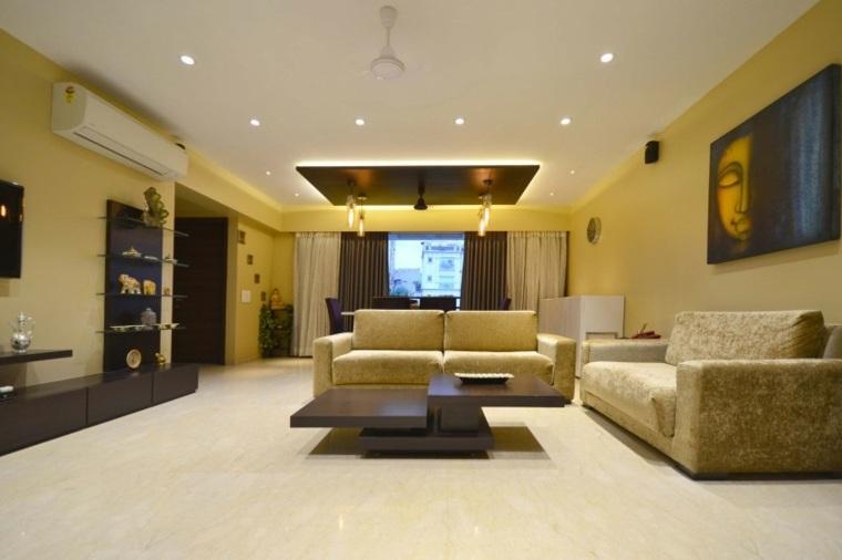 casa moderna paredes muebles salon color amarillo ideas