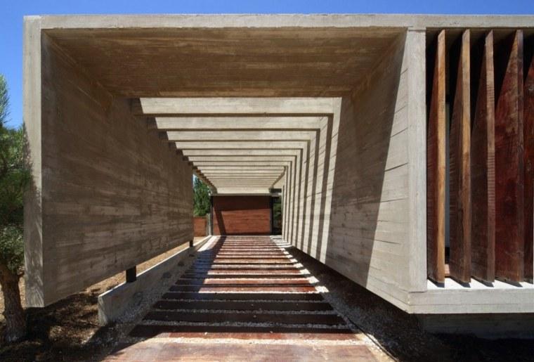 casas lujosas residencia entrada hormigon madera ideas