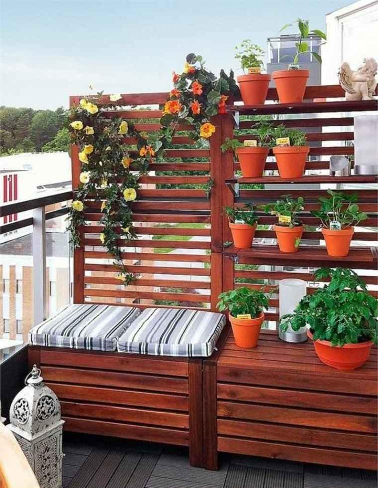 Ideas para terrazas y balcones peque os 24 im genes - Paneles madera jardin ...