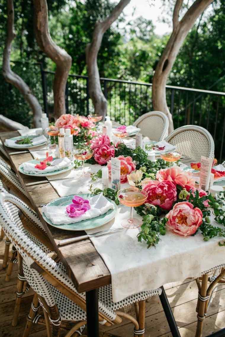 centro mesa jardin flores frescas ideas