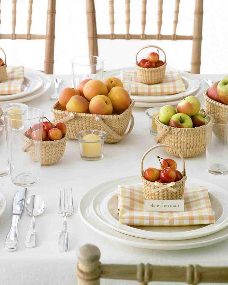 centros de mesa sencillos para boda macetas frutas ideas