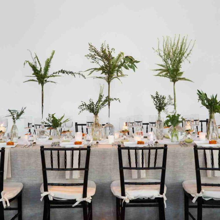 centros de mesa sencillos para boda plantas altas ideas