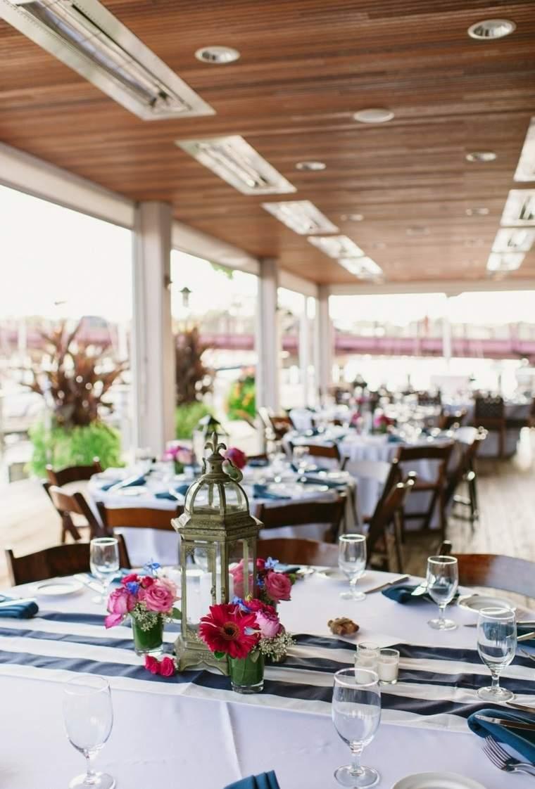 centros mesa sencillos boda farola ideas