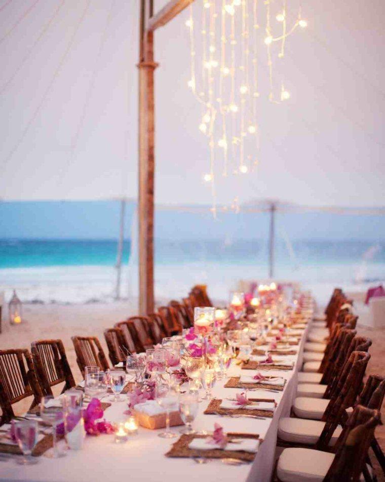 centros mesa sencillos boda iluminacion flores ideas