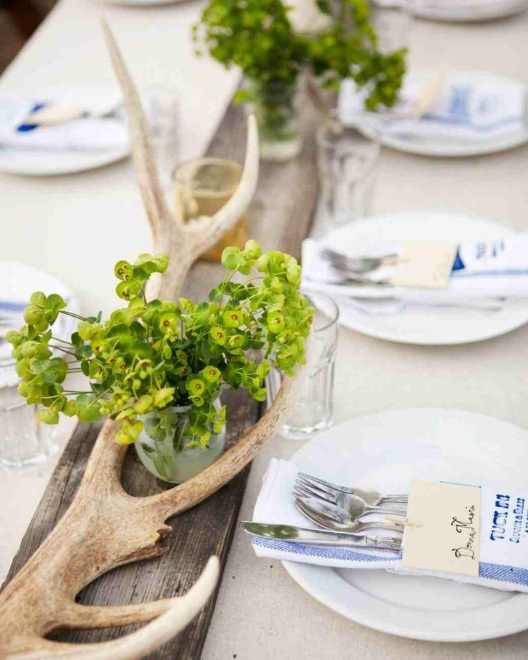 centros mesa sencillos boda ramas madera plantas ideas
