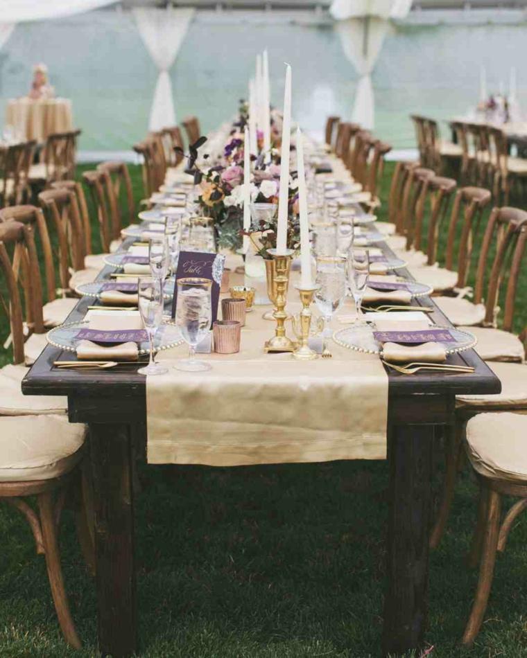 centros mesa sencillos boda velas flores ideas