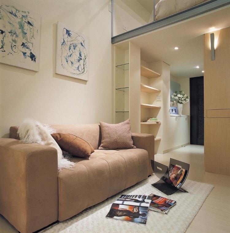 Salones peque os decoracion en 55 ideas geniales de xito - Cojines marrones ...