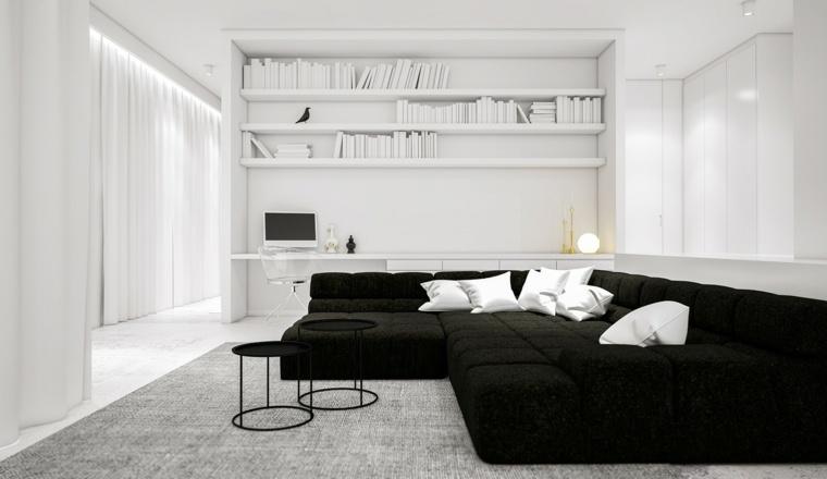 color blanco diseño alfombras libros estantes