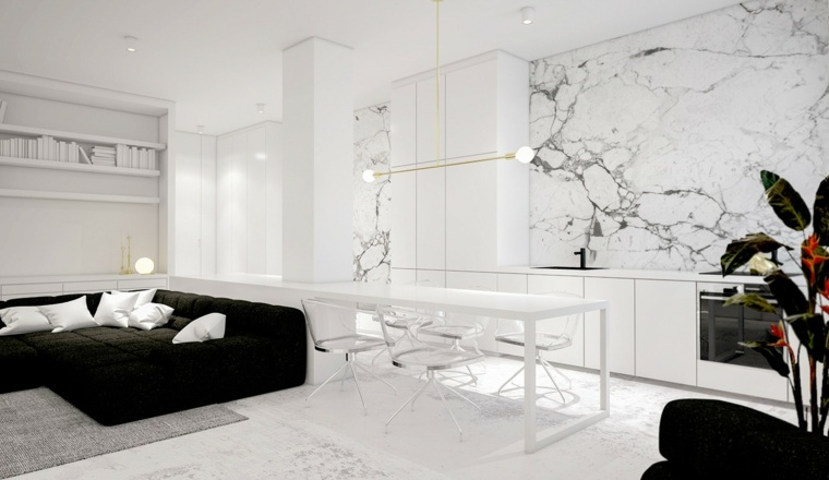 color blanco diseño sillones oscuros almohadones
