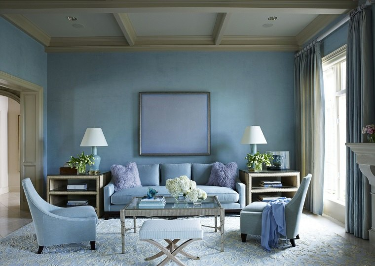 colores pintar salon moderno muebles azules ideas